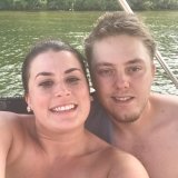 <p>Allison and Jamie enjoy spending time in the summer on the lake on the pontoon boat.</p>