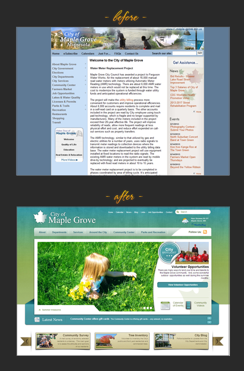 City of Maple Grove web re-design: before & after